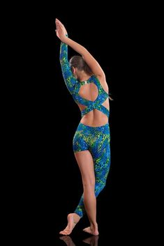 Eden is a stunning asymmetrical dance unitard in a blue/green animal print. dancer in contemporary abstract movement or acrobatic work. This striking. one long sleeve, one long leg and cutaway back-line this unitard compliments the. | eBay!