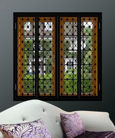 Period window shutters with fine floral design