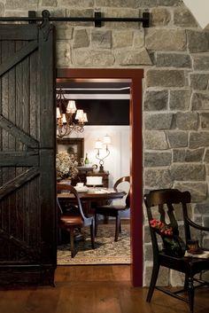 Sliding barn door - stone - gorgeous!