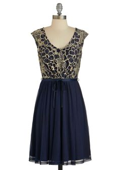 Evening Haute Cocoa Dress - Blue, Tan / Cream, Floral, Party, A-line, Cap Sleeves, Better, Scoop, Embroidery, Belted