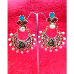 Maroon green pearl polki earring with lovely work ha153