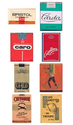 vintage packaging: collection of cigarette packs #design #vintage #packaging