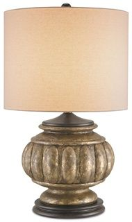 Devonport Table Lamp Wood Composite Distressed Silverleaf, Tan Shade   31 H $425