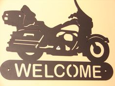 Harley Davidson Motorcycle WELCOME SIGN Home Decor by artbyjack, $55.00