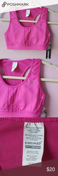 Head Workout Top Sports Bra Yoga Training This Item Is Brand New With Tags And Never Worn   Sports Bra Training Workout Top by Head Dri- Motion Moisture Management Wicks Away Moisture from skin Beautiful Pink Color Great for yoga cross training biking tennis running Mesh Racer Back  Front Lined  Comfort Support Band  Be Sure To Check Out The Rest of My Listings For Additional Work Out Apparel Tops pants capris   ✔BUNDLE UP FOR SAVINGS ✔ Head Tops