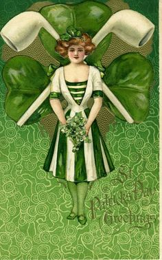 Samuel L Schmucker Irish Lass Crossed Pipes Winsch Back St Patricks Day Postcard #StPatricksDay