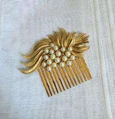 Vintage Bridal Haircomb - gold leaves, pearl, flower, Trifari, wedding, hairpiece, hair comb, antique, nouveau, deco, unique, OOAK