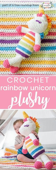 Get the free crochet pattern for this roy the rainbow unicorn plushy toy amigurumi from Sewrella featured in my gender neutral rainbow baby FREE pattern roundup!