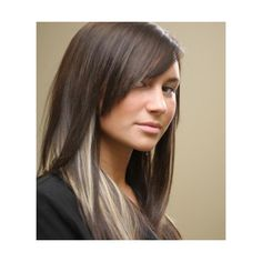 Edgy Peek-a-Boo Blonde Highlights - Pictures of Dark Hair with Highlights | LoveToKnow found on Polyvore