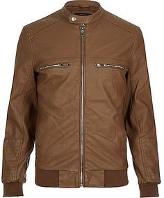 $130, Brown Leather Bomber Jacket: River Island Light Brown Leather Look Bomber Jacket. Sold by River Island. Click for more info: https://lookastic.com/men/shop_items/292367/redirect