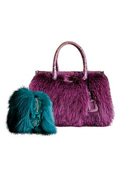 Blue prada. Leopard print handbag. Fur. Rose gold watch. | PRADA ...