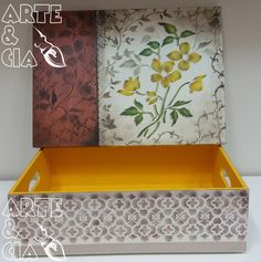 Caixa de MDF com Stencil Duplo: Flor Amarela - Arte & Cia 3