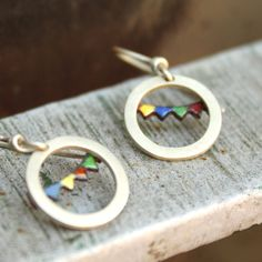 """Salta banner Earrings-sterling silver and enamel   ::Inspired on the beautiful Northwest region of my country, Argentina. During Summer, we celebrate the carnival, a celebration with music and dance, and all the streets get adorned with this colorful banner flags.""""  She is from Argentina.  $48.00"""