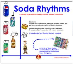 Soda Rhythms - An interactive SMARTBoard lesson using Soda Can rhythms. Downloadable game pieces / interactive / fun lesson
