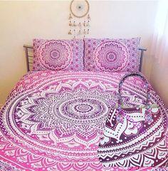 Mandala Duvet Cover Pink Color Bedding Cover With 1 Pcs Mandala Bag Free  #Handmade #DuvetCover