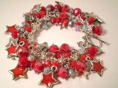 Red Star with Silver Charm Bracelet by KirasCreations on Etsy, $35.00