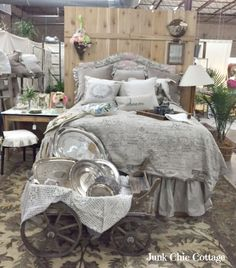 Junk Chic Cottage: French Laundry Home-oh lah lahhhh on the silver trays in the goat cart! Junk Chic Cottage, The French Laundry, French Script, Silver Trays, Guest Room, Comforters, Shabby Chic, New Homes, Blanket