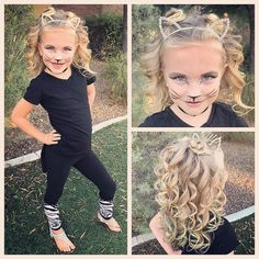 Hope you all have a safe and fun day full of lots of treats and maybe just a little bit of tricks! This little girl decided last minute to ditch her Evie costume and become a cat. So we did a couple mini buns and some full curls! Little Girl Hairstyles, Hairstyles For School, Curled Hairstyles, Cool Hairstyles, Halloween Hairstyles, Halloween Looks, Halloween Costumes For Girls, Happy Halloween, Halloween Fashion
