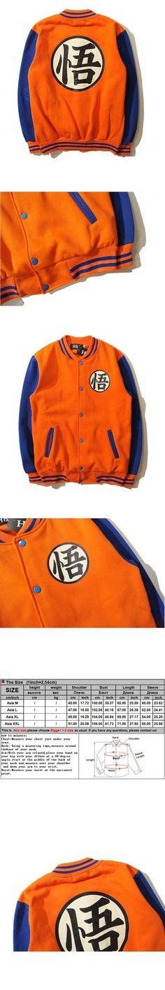 Fleece Men Anime Dragon Ball Z Jacket Baseball Collar Print Letter Pocket Button Long Sleeve Sweat Homme Dragon Ball Hoodies