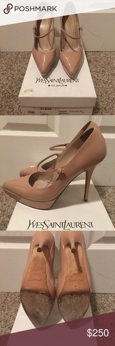 YSL Mary Jane pumps YSL pumps in a beautiful nude. They are such an iconic look and never go out of style Yves Saint Laurent Shoes Heels
