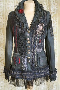 SALE Steampunk jacket - extravagant reworked vintage jacket, wearable art, hand embroidered and beaded details, Vetement Hippie Chic, Steampunk Jacket, Diy Fashion, Womens Fashion, Look Boho, Denim Ideas, Moda Vintage, Altered Couture, Denim And Lace