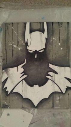 Original acrylic Abstract Batman painting on canvas. By Serena DeLeon