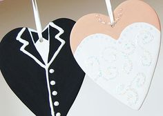 Our bisque hearts painted with DecoArt acrylics.