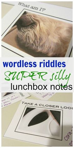Make your kids lunches FUN with these wordless riddles. They are silly lunchbox notes with pictures for a quickie way to show kids that you're thinking of them throughout the day and to sneak in a little bit o' learning and thinking along the way. #learning #school #schoollunch #notes #education #kidsactivities #riddles #parents