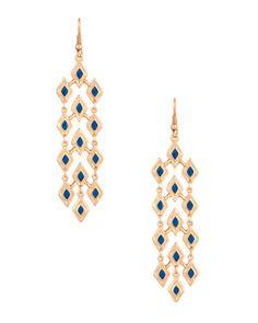 Stunning Rhombus Style Blue Enamel Earrings   Rs. 399   http://voylla.com