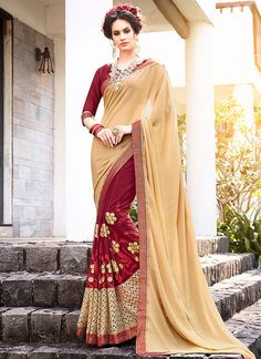 Buy Astounding Beige and Maroon Designer Half N Half Saree  #sarees #saree #sari #designersaree #sareebuzzlove #sareebuzz #weddingsarees #weddingfashion