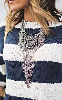 Stripes + Statement Necklace