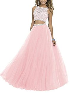 online shopping for ALW Women's Two Piece Beaded Bodice Tulle Prom Dress Cocktail Party Dress Ball Gown Homecoming Dress from top store. See new offer for ALW Women's Two Piece Beaded Bodice Tulle Prom Dress Cocktail Party Dress Ball Gown Homecoming Dress Two Piece Homecoming Dress, Prom Dresses Two Piece, Pretty Prom Dresses, Prom Dresses 2016, Pink Prom Dresses, Sweet 16 Dresses, Quince Dresses, Tulle Prom Dress, Two Piece Dress