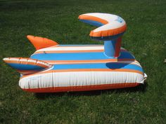 Vtg Ideal Toys Water Cycle Inflatable Blow Up Raft Ride On Float Pool Squeaker #Ideal