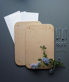 MDF - Pressed flower kit: screws (+ wingnuts and washers), blotting paper, and 2 MDF panels