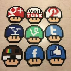 Social media mushrooms perler beads by awesomeangela13