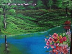Title: Sunken Garden Size: 16x20 Inches Medium: Acrylic on canvas Status: Available (For sale) Price: $ 500  #painting#acrylic#canvas#landscape#art#lake#flowers#forest#walldecor Garden Painting, Garden Art, Landscape Art, Landscape Paintings, Sunken Garden, Original Paintings For Sale, Acrylic Canvas, Fine Art Paper, Saatchi Art