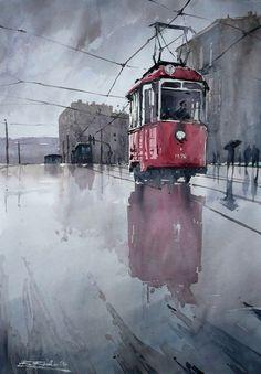 """""""Трамвай после дождя"""", художник: Рафаль Рудко"""