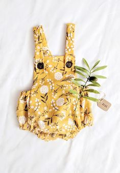 Handmade Mustard Yellow Floral Baby Romper | HarrisonHandcraftsCo on Etsy