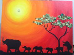 Buttons on canvas. African scene with 6 elephant silhouette. Button for the sun and the tree leaves. By Carmen Barrientos