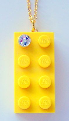 Yellow LEGO R brick 2x4 with a Diamond color by MademoiselleAlma, $12.99 #LEGO