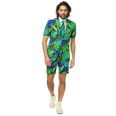 Men's OppoSuits Slim-Fit Summer Juicy Jungle Suit & Tie Set, Size: 40 - regular, Green Blue Source by Costume Halloween, Halloween Suits, Party Suits, Tuxedo For Men, Summer Suits, Tie Set, Suit And Tie, Slim Fit, Trendy Plus Size