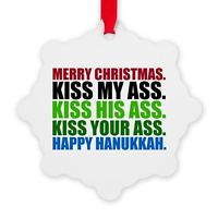 CafePress Merry Christmas Kiss Snowflake Ornament
