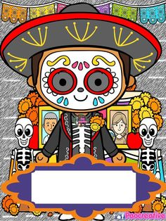 Halloween Doodle, Halloween Clipart, Halloween Projects, Day Of The Dead Skull, Sugar Skull Art, Scrapbook, Dot Painting, Cute Illustration, Cute Wallpapers