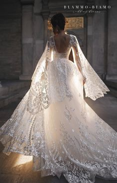 Wedding dress Nilsa by Blammo-Biamo. Plunge V-neck embellished bodice skirt cape A-line floral pattern floral design floral embroidery chic bold unique wedding dress. Based in Vancouver, Canada. Lace Wedding Dress, Long Sleeve Wedding, Wedding Dress Shopping, Dream Wedding Dresses, Bridal Dresses, Wedding Gowns, Couture Dresses, Expensive Wedding Dress, Bridesmaids