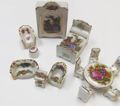 13X//lot plate cup dish bowl tableware Dollhouse Miniatures Toys Doll Accessories