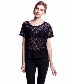 sheer lace scoop neck| H US