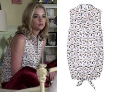 Ashley Benson as Hanna Marin wore this makeup print shirt covered with tiny lipsticks and itty bitty mascara wands in the season four premiere of Pretty Little Liars, 'A' is for A-L-I-V-E. Equipment Mina Makeup Print Button Up - $124.60 (30% off)