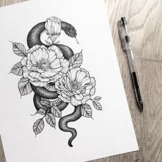 The Tattoo - - diy tattoo images - Minimalist Tattoo Tatoo Snake, Snake And Flowers Tattoo, Drawing Flowers, Finger Tattoos, Body Art Tattoos, Sleeve Tattoos, Arm Tattoos, Trendy Tattoos, Small Tattoos