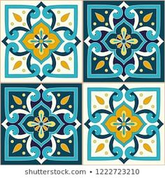 Portuguese tile pattern vector seamless with ornaments. Portugal azulejos, mexican talavera, italian majolica or spanish ceramic motifs. Design for wallpaper, kitchen wall or bathroom floor. Ceramic Tile Art, Ceramic Floor Tiles, Clay Tiles, Mosaic Art, Tile Patterns, Textures Patterns, Pattern Paper, Pattern Art, Islamic Art Pattern