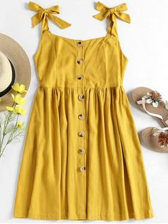 Shop for Tied Straps Button Up Dress GOLDENROD: Casual Dresses S at ZAFUL. Only $23.49 and free shipping!
